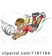 Cartoon Of A Blond Girl Diving For A Volleyball Royalty Free Vector Clipart