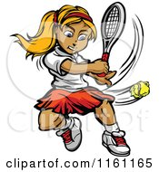 Cartoon Of A Blond Tennis Player Girl Hitting A Ball Royalty Free Vector Clipart