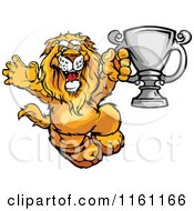 Cartoon Of A Victorious Lion Holding Up A Silver Trophy Royalty Free Vector Clipart by Chromaco