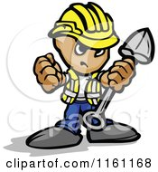 Cartoon Of A Tough Little Construction Worker Holding A Fist And Shovel Royalty Free Vector Clipart