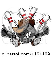 Cartoon Of A Wild West Cowboy Bowling Ball Bandit Shooting Pistols Over Pins Royalty Free Vector Clipart