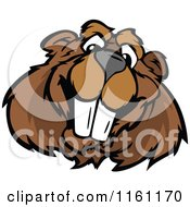 Cartoon Of A Happy Beaver Mascot Face Royalty Free Vector Clipart
