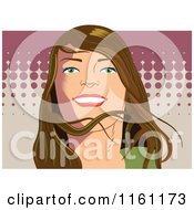 Clipart Of A Happy Brunette Woman With Halftone Royalty Free Vector Illustration by Frisko