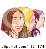 Happy Women In Profile With Halftone Hair