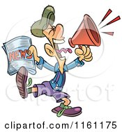 Clipart Of A Newsie Man Holding A Paper And Shouting Through A Megaphone Royalty Free Vector Illustration