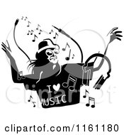 Clipart Of A Black And White Woman Dancing And Wearing An I Love Music Shirt Royalty Free Vector Illustration by Frisko