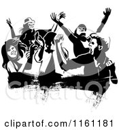 Clipart Of Black And White People Dancing Over A Grunge Smear Royalty Free Vector Illustration