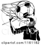 Clipart Of A Black And White Victorious Soccer Player And Ball Hitting The Net Royalty Free Vector Illustration by Frisko