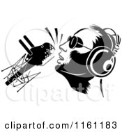 Black And White Dj Or Singer With A Retro Microphone