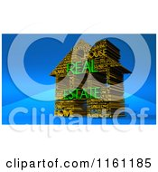 Clipart Of A 3d Gold And Green Real Estate House Word Collage On Blue Royalty Free CGI Illustration