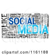 Clipart Of A Blue And Black Social Media Word Collage Royalty Free CGI Illustration by MacX #COLLC1161188-0098