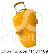 Clipart Of A 3d Yellow Suitcase Pointing To A Sign Royalty Free CGI Illustration