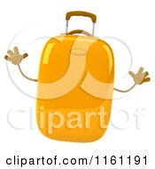 Clipart Of A 3d Yellow Suitcase Jumping Royalty Free CGI Illustration