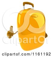 Clipart Of A 3d Yellow Suitcase Holding A Thumb Up Royalty Free CGI Illustration