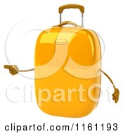 Clipart Of A 3d Yellow Suitcase Pointing Royalty Free CGI Illustration