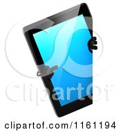 3d Tablet Computer Mascot Pointing To A Sign