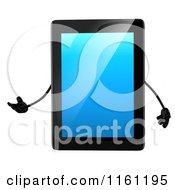 3d Tablet Computer Mascot Presenting