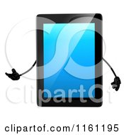 Clipart Of A 3d Tablet Computer Mascot Presenting Royalty Free CGI Illustration by Julos