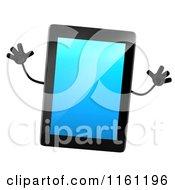 3d Tablet Computer Mascot Jumping