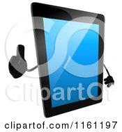 3d Tablet Computer Mascot Holding A Thumb Up