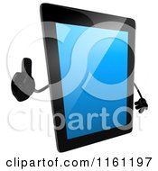 Clipart Of A 3d Tablet Computer Mascot Holding A Thumb Up Royalty Free CGI Illustration by Julos