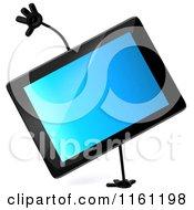 3d Tablet Computer Mascot Cartwheeling
