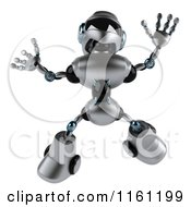 Clipart Of A 3d Silver Male Techno Robot Jumping Royalty Free CGI Illustration