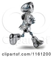 Clipart Of A 3d Silver Male Techno Robot Running 2 Royalty Free CGI Illustration