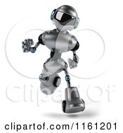 Clipart Of A 3d Silver Male Techno Robot Running Royalty Free CGI Illustration