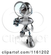 Clipart Of A 3d Silver Male Techno Robot Using A Magnifying Glass Royalty Free CGI Illustration
