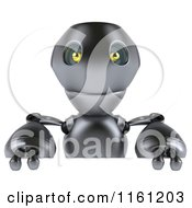Clipart Of A 3d Silver Robot Mascot Over A Sign Royalty Free CGI Illustration