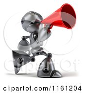 Clipart Of A 3d Silver Robot Mascot Using A Megaphone Royalty Free CGI Illustration