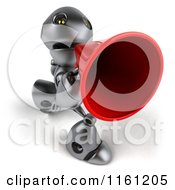 Clipart Of A 3d Silver Robot Mascot Using A Megaphone 2 Royalty Free CGI Illustration
