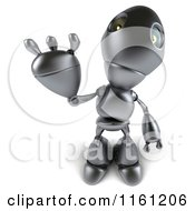 Clipart Of A 3d Silver Robot Mascot Waving 2 Royalty Free CGI Illustration