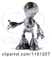 Clipart Of A 3d Silver Robot Mascot Presenting Royalty Free CGI Illustration