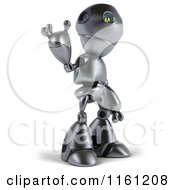 Clipart Of A 3d Silver Robot Mascot Pointing Up Royalty Free CGI Illustration
