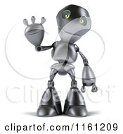 Clipart Of A 3d Silver Robot Mascot Waving Royalty Free CGI Illustration by Julos