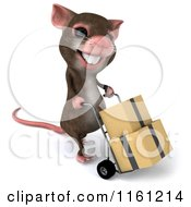 Clipart Of A 3d Mouse Pushes Boxes On A Dolly 3 Royalty Free CGI Illustration