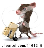 Clipart Of A 3d Mouse Pushes Boxes On A Dolly 2 Royalty Free CGI Illustration