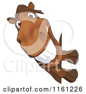 Cartoon Of A Happy Horse Smiling Around A Sign Royalty Free Clipart