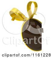 Clipart Of A 3d Chocolate Easter Egg Mascot With A Yellow Bow Pointing To A Sign Royalty Free CGI Illustration