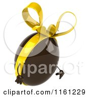 Clipart Of A 3d Pouting Chocolate Easter Egg Mascot With A Yellow Bow Royalty Free CGI Illustration