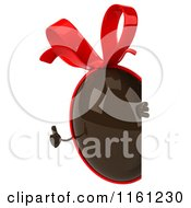 Clipart Of A 3d Chocolate Easter Egg Mascot With A Red Bow Looking Around A Sign Royalty Free CGI Illustration