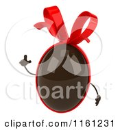 Clipart Of A 3d Chocolate Easter Egg Mascot With A Red Bow Holding Up A Finger Royalty Free CGI Illustration