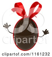 Clipart Of A 3d Jumping Chocolate Easter Egg Mascot With A Red Bow Royalty Free CGI Illustration