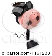 Clipart Of A 3d Cow Wearing Sunglasses And Looking Around A Sign Royalty Free CGI Illustration