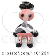 Clipart Of A 3d Cow Wearing Sunglasses And Sitting Back Royalty Free CGI Illustration