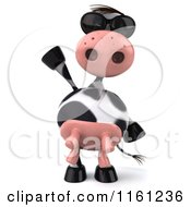 Clipart Of A 3d Cow Wearing Sunglasses And Waving Royalty Free CGI Illustration