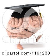 3d Brain Mascot Wearing A Graduation Cap And Walking 2