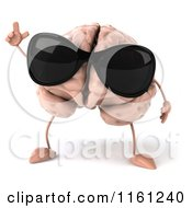 3d Brain Mascot Wearing Sunglasses And Holding Up A Finger